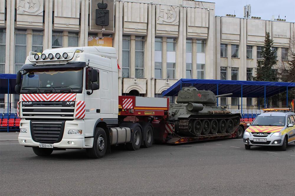 Маршрут:д. Алабино (МО) - г. Ярославль Что перевозили: Перевозка советского танка Т-34